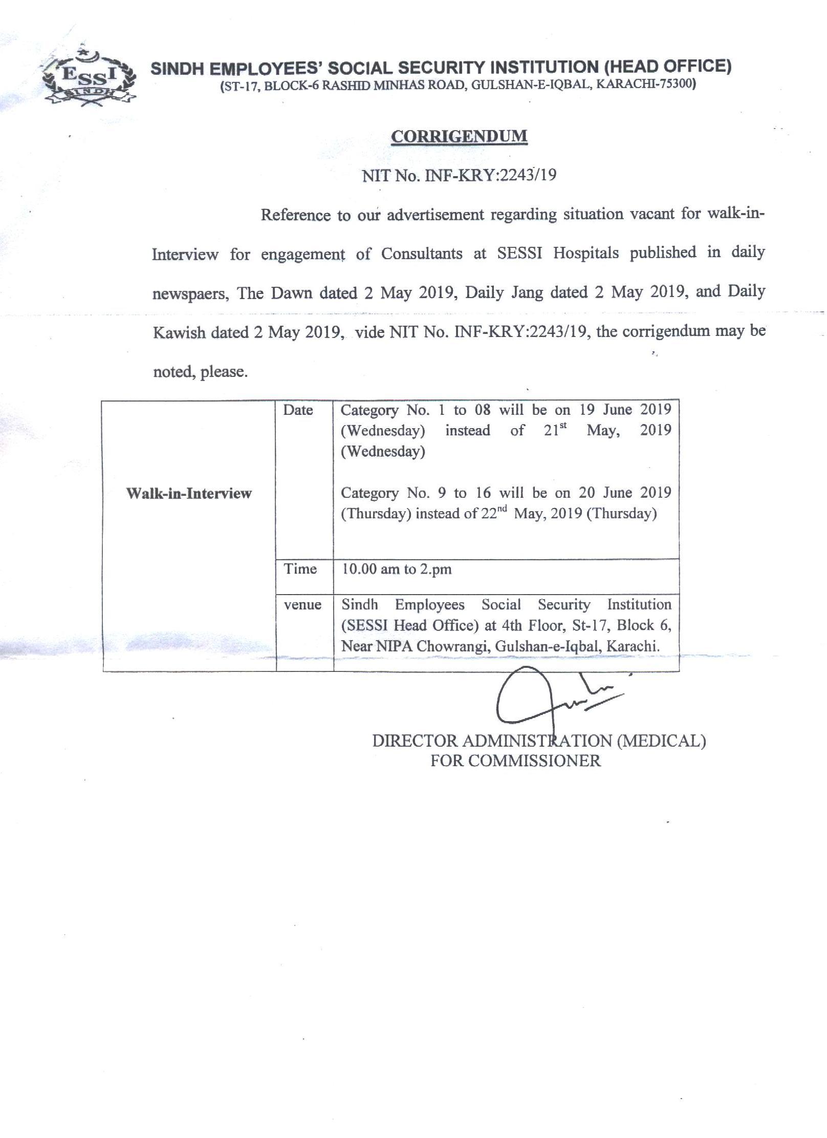 SESSI- Govt  of Sindh
