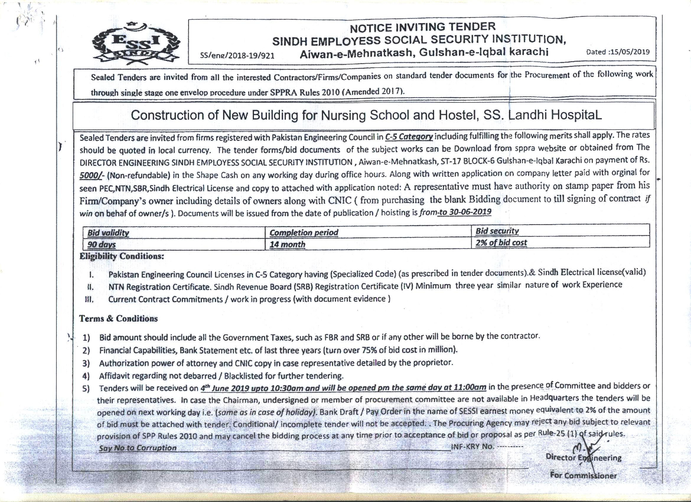 Draft Tender Notice For Residential Building